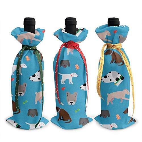 Sacchetti di copertura per decorazioni con coperchio per bottiglia di vino stampato per esposizione canina, per forniture per feste di degustazione di vino di Natale