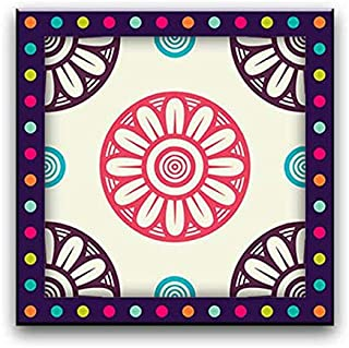 Wall Art Printed Canvas Tableau, Mandala Drawing art 50x50cm, Framed for Home and office Decor
