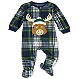The Children's Place Baby and Toddler Holiday Fleece One Piece Zip Up Pajamas, Moose Plaid, 6-9 Months