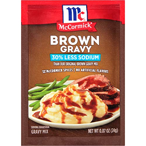 McCormick 30% Less Sodium Brown Gravy Mix, 0.87 oz Packet (pack of 12)