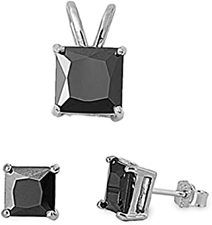 Princess Cut Simulated Gemstone Pendant & Earring .925 Sterling Silver Solitaire Set