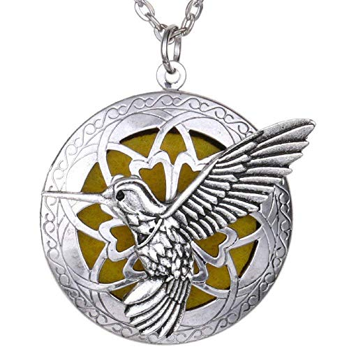 Soul Statement Diffuser Necklace: Essential Oil Necklaces for Women Aromatherapy Locket (Hummingbird)
