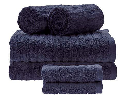 iDesign Juego de 6 Toallas de baño con Lazo para Colgar, Toallas de algodón 100% con Relieve a Rayas, Juego de Toallas con 2 de baño, 2 de Lavabo y 2 de tocador, Azul Marino
