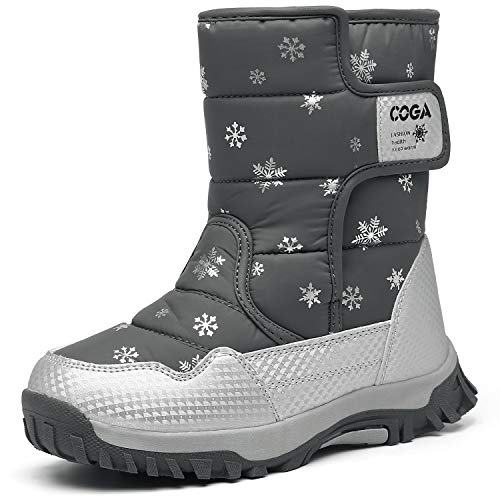 Mishansha Girls Snow Boots Winter Warm Fur Lined Water Resistant Outdoor Boys Slip Resistant Cold Weather Shoes Grey
