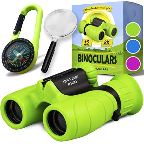 Binoculars for Kids - Perfect Toy for Little Boys and Girls - Extensive Set Including Magnifying Glass & Compass - Powerful Magnification 8X21 - Easter Gift for 4 5 6 7 8 Year Old Kids (Green)