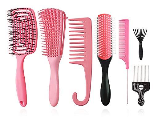 Ensemble de 8brosses démêlantes, brosse à shampooing en poils de nylon à 9rangées / brosse à cheveux ventilée /peignes à cheveuxfaçonner et définir les boucles cheveux mouillés/secs Afro (rose)
