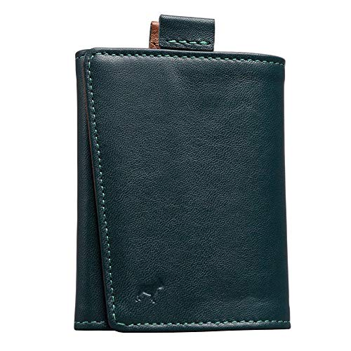The Frenchie Co. Mini Speed Wallet | Green + Tan | The Original Speed Wallet for Men with RFID Blocking and Super Fast Card Holder Access | Italian Leather Ultra Slim