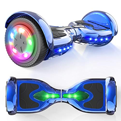 """MICROGO Hoverboards, Self Balance Scooter, 6,5 """"Elektroroller mit Bluetooth-Lautsprechern LED-Leuchten, Geschenk für Kinder und Jugendliche (Chromblau)"""