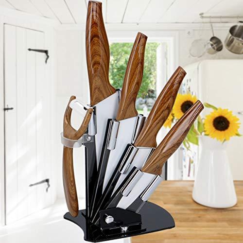 Stimo Messerblock Set (6-TLG) Küchenmesser Keramik - Antihaft - Beschichtet mit Keramikschäler Rostfrei