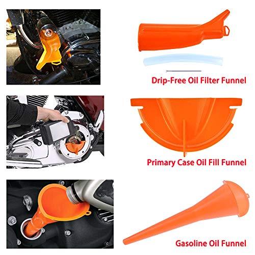 FRFJY Kit Cambio Olio Imbuto Moto Set 3 Pezzi Imbuto riempimento Carter Imballo primario Riempimento Olio Set Imbuto Olio antigoccia per Harley
