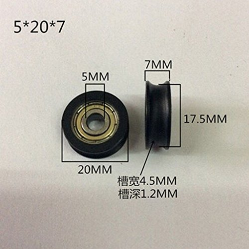 Winwill® 4Pcs 5 * 20 * 7mm negro POM recubierto rodamiento