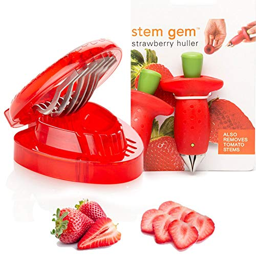 Strawberry Fruit Slicer Set Berry Stem Leaves Huller Gem Remover Removal Fruit Peeling Tool Kitchen Accessories Corer Strawberry Tomatoes and Stem Tool 2PCS