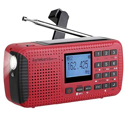 Retekess HR11W NOAA Radio Weather Solar Dynamo AM FM Wind up with Flashlight Alarm MP3 Player Recorder Alarm Clock and Bluetooth
