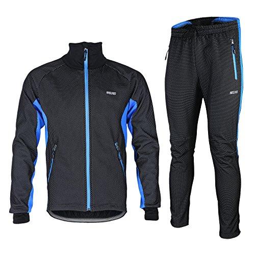 M.Baxter Fahrradbekleidung Winter Herbst Fahrrad Trikot + Hose Wasserdicht Winddicht Atmungsaktiv Warm Fleece Jacke