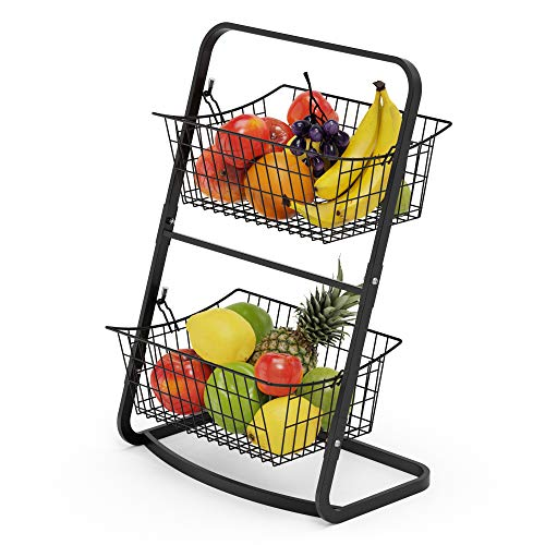 2-Tier Fruit Basket Stand, Cambond Mini Countertop Fruit Holder, Metal Market Basket Stand for Fruit and Vegetable Storage, Produce Storage, Snacks, K-cup, Potato, Onion, Black