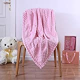 Fleece Plush Fuzzy Receiving Blanket for Infant or Newborn Toddler,Super Warm Cozy Daycare Nursery Blankets with Double Layer Dot for Nap Crib Outdoor 30x40 Baby Pink