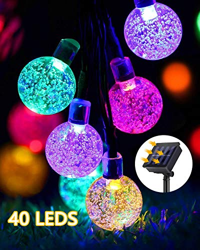 GreenClick Solar String Lights Outdoor, 25ft 40 Led String Lights 8 Modes Crystal Ball Waterproof Solar Powered String Lights for Bedroom, Garden, Party, Festival (Multi-Color)