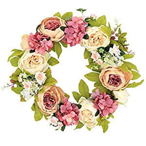 Palmhill Peonies Hydrangea Wreath, 16″ Artificial Flower Handcrafted Front Door Wreaths for Spring and Summer Autumn All Seasons Floral Wreath Twig Vine Hanging for Farmhouse Office Home Wedding Decor