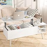 Mesa baja elevable, moderna, mesa baja rectangular con cajón de almacenamiento, mesa baja de salón, para muebles de salón (blanco)