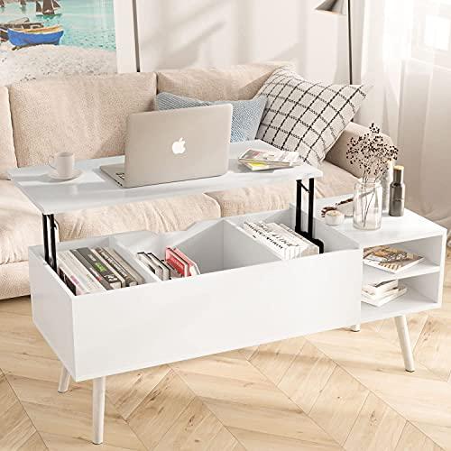 Table Basse Relevable,Moderne Table Basse Rectangulaire avec Tiroir de Rangement Table Basse de Salon pour Meubles de Salon (Blanche)