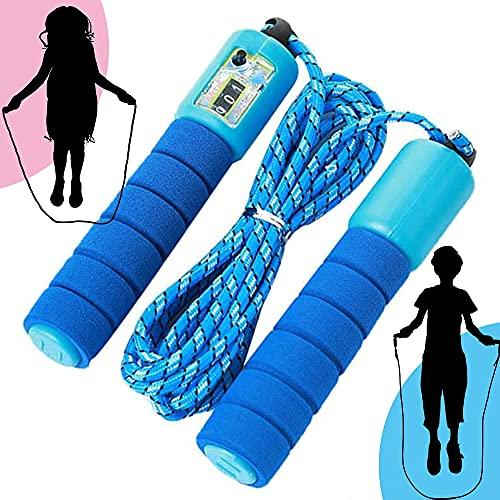 ELKHERBA® - Springseil Kinder mit Zähler, Speed Rope, Fitness Springseil, Speed Jump Rope mit Schaumstoffgriff, Springseil mit Zähler, Verstellbarer Springseil, Springseil für Kinder (Blau)
