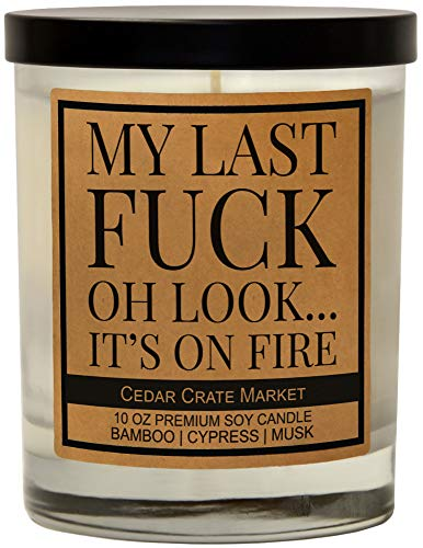 My Last F - Funny Candle, Friendship Candle for Women, Birthday Candle for Boss, Female, Going Away, Moving, Joke, for BFF, Bestie, Coworker, Scented Candle