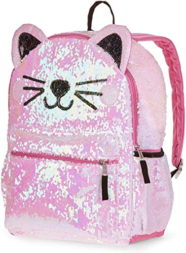 2 Way Sequin Kitty Cat Backpack for Girls Teens ~ Premium 16' Kitten School Bag with Reversible Sequins and 3D Cat Ears (Kitty School Supplies Bundle)
