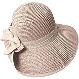 CYNB Sombrero de Paja Sombrero de Paja Sombrero de Bowknot Femenino Sombrero de Pescador con Volantes Protector Solar Transpirable Sombrero de Paja Bolso Exquisito Sombrero de Playa