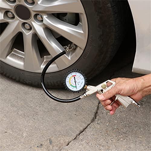 DYBITTS Inflador de neumáticos con manómetro Indicador de presión de Aire Indicador de Rueda de precisión con PSI y Barra, Manómetro de presión de neumáticos para automóviles, Bicicletas