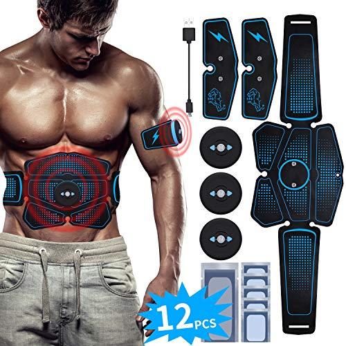 RIRGI EMS Bauchmuskeltrainer USB Wiederaufladbar EMS Trainingsgerät für Arm Bauch Beine Bizeps Trizeps Abs 6 Modi 10 Intensitäten 12 Gratis Gelpads für Muskelaufbau und Fettverbrennung