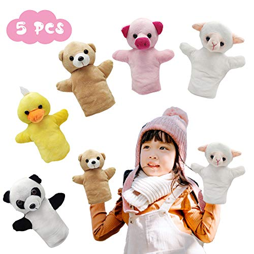 CreepyParty Marionetas de mano, juguete de fiesta de animales para niños, bebé, marionetas de granja de felpa suave para niños y niñas, paquete de 5