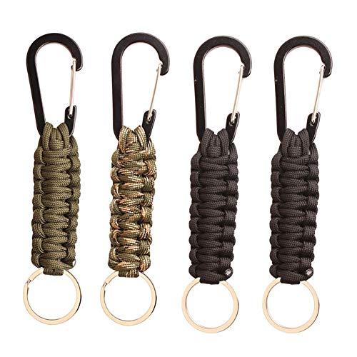 HUYIWEI 4 llaveros  mosquetones  ganchos trenzados  pequeños  para mochilas de llaves