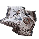 NKTM Cotton Throw Blankets with Tassels Flower/ Bird Beige for Couch Home Decoration American Village Style 50 X 60 Inches