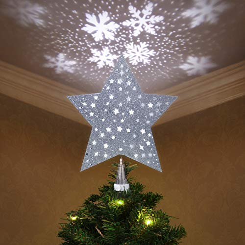 Lighted Christmas Tree Topper Star - YUNLIGHTS Christmas Tree Star with LED Rotating Snowflake Projector Lights -3D Glitter Hollow Xmas Tree Topper for Holiday Christmas Decorations - Silver
