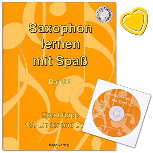 Horst Rapp Saxofoon leren met leuke band 2 van 135 liedjes en duette met CD en kleurrijke hartvormige muziekklem