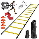 DTNO.I Kit de Entrenamiento de Velocidad - Con 1 Escalera de Agilidad 1 Paracaídas de Resistencia 5 Conos de Fútbol y 1 Yoga Banda Usado Para...