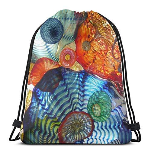 March flowers Tacoma, WA Walkway Pedestrian Bridge 3D Print Drawstring Backpack Rucksack Shoulder Bags Gym Bag for Adult 16.9\