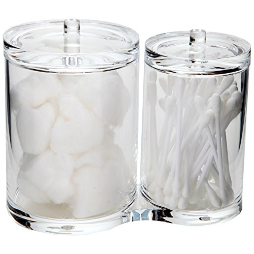 ARAD Cotton Ball and Swabs Holder Acrylic – Two Compartments with Separate Lids – Large Capacity for Bathroom Items