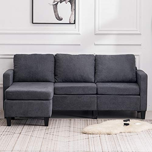 VINGLI Convertible Sectional Sofa Small 3-Seater Sectional Couch L-Shape Upholstered Sectional Sofa Couch with Reversible Chaise for Small Space (Grey)