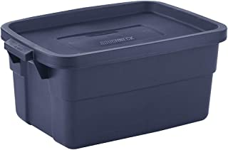Rubbermaid Roughneck Storage Tote, Rugged, Reusable, Stackable, Container, 3 Gallon, Pack of 6, Dark Indigo Metallic