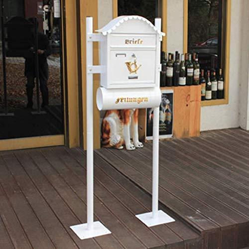 CAI-1 Stehender weißer Briefkasten-Briefkasten-Wandbehang-Landhaus-wasserdichter dekorativer Briefkasten im Freien mit Zeitungsrohr