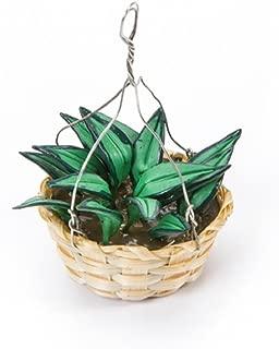 Timeless Minis - Handmade Boston Fern Hanging Basket - 1.25 X 2 Inches