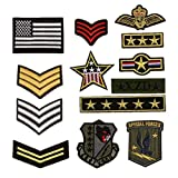 Bella 13pcs Parch Apliques Patches Sticker Parche Termoadhesivo Militar Estilo Insignia Badge Estrella Bandera Nacional Bordado Iron On Patch para Chaqueta Camiseta Ropa
