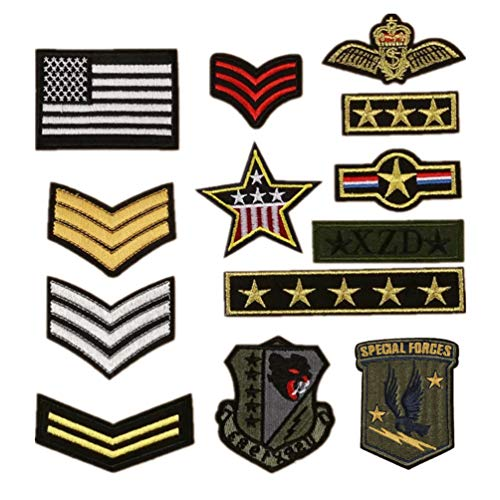 Bella 13pcs Parch Apliques Patches Sticker Parche Termoadhesivo Militar Estilo Insignia Badge Estrella Bandera Nacional Bordado Iron On Patch para Chaqueta Camiseta Ropa