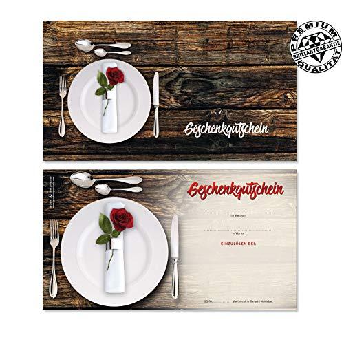 10 Gutscheinkarten Geschenkgutscheine. Vorderseite hochglänzend. Gutscheine für Gastronomie Restaurants. G12014 geschenkgutschein gmbh