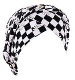 Coolwife Chemo Cancer Turbans Cap Twisted Trenza Cubierta de pelo Wrap Pérdida de pelo Sombreros Headwear, Celosía Impreso Negro Blanco, Talla única