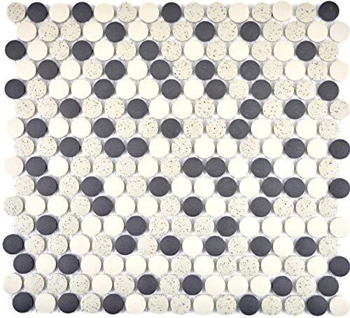 Mozaïek tegel keramiek beige zwarte knop douchebak vloertegel ongeglazuurd MOS10-0113-R10_f