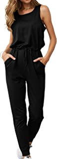 KIRUNDO Women's 2019 Summer Solid Casual Sleeveless Drawstring Waist Long Pants Rompers Jumpsuits with Pockets