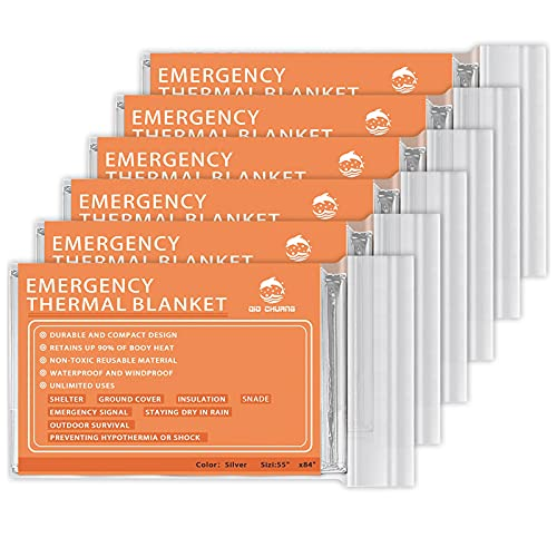Emergency Mylar Thermal Blankets -Space Blanket Survival kit Camping Blanket (Pack of 6). Perfect...