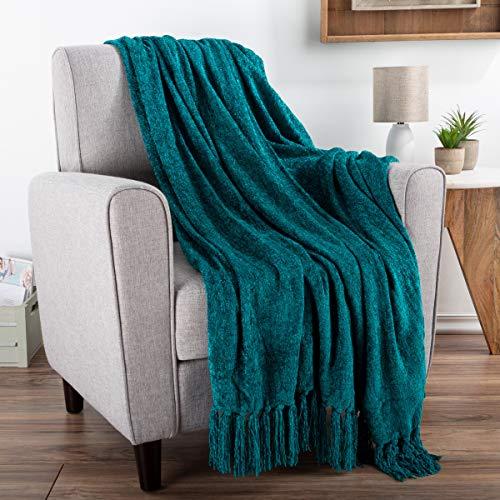 Bedford Home - Manta de Chenilla para sofá, decoración del hogar, Cama, sofá y Silla, tamaño Grande, 152 x 178 cm, Ligera, Flecos de 12,7 cm, Ultra Suave y Brillante en Color Azul